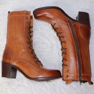 Frye Lace Up 100% Leather Heeled Combat Boots